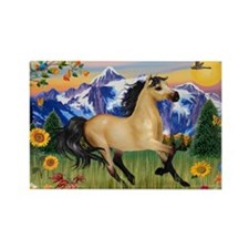 Mt. Country Buckskin Horse Rectangle Magnet