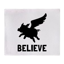 Flying Pig Believe Throw Blanket
