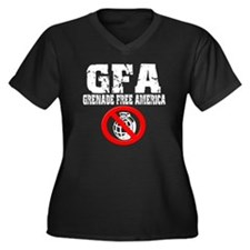 gfa-nade-whi Women's Plus Size Dark V-Neck T-Shirt