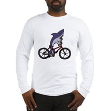 Funny Shark Riding Bicycle  Long Sleeve T-Shirt
