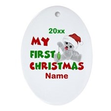 1st Christmas Bear Personalized Ornament (Oval)