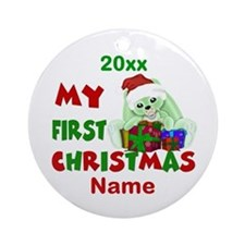1st Christmas Bunny Personalized Ornament (Round)