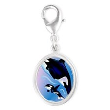 Orca Mom and Baby_journal Silver Oval Charm