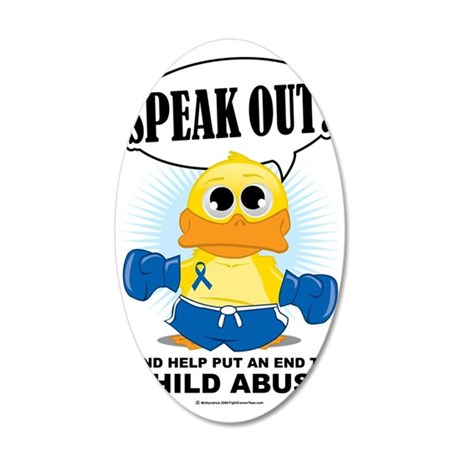 Boxing-Duck-Child-Abuse 35x21 Oval Wall Decal