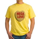 Mega Love Valentine Candy Heart Yellow T-Shirt