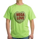 Mega Love Valentine Candy Heart Green T-Shirt