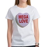 Mega Love Valentine Candy Heart (Front) Women's T-