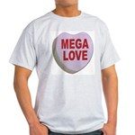 Mega Love Valentine Candy Heart (Front) Ash Grey T