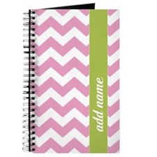 Pink Lime Chevrons Add Name Journal