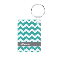 Teal Gray Chevrons Keychains