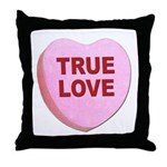 True Love Candy Valentine Heart Throw Pillow
