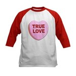 True Love Candy Valentine Heart (Front) Kids Baseb
