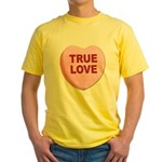 True Love Candy Valentine Heart Yellow T-Shirt