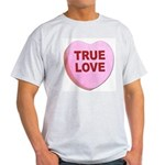 True Love Candy Valentine Heart (Front) Ash Grey T