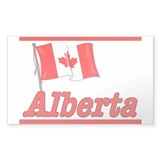 Canada Flag - Alberta Text Rectangle Bumper Stickers