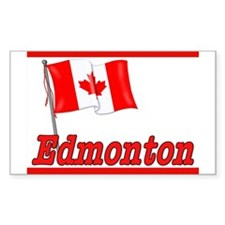Canada Flag - Edmonton Text Rectangle Decal