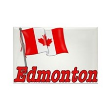 Canada Flag - Edmonton Text Rectangle Magnet (10 p