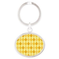 Lincoln Argyle Pattern Oval Keychain