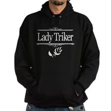 Lady Triker, Rosebud 1, white on black Hoodie