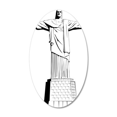 christ the redeemer 35x21 Oval Wall Decal