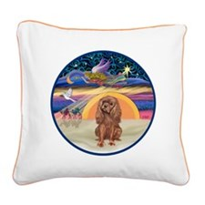 R-Xmas Star - Ruby Cavalier Square Canvas Pillow