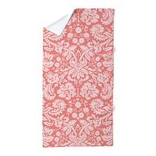 Coral Pink Damask Pattern Beach Towel