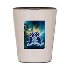 cute owl love peace bb Shot Glass