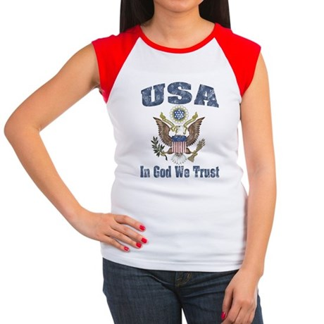 USA - Weathered Look Women's Cap Sleeve T-Shirt
