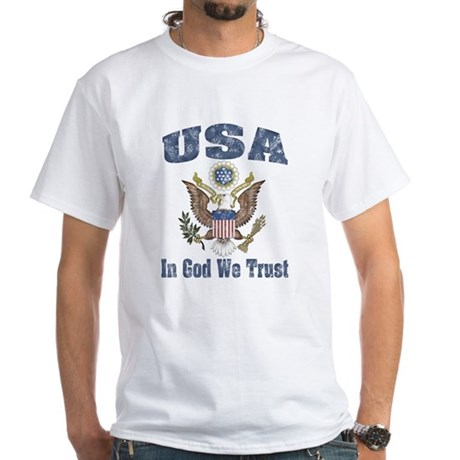 USA - Weathered Look White T-Shirt