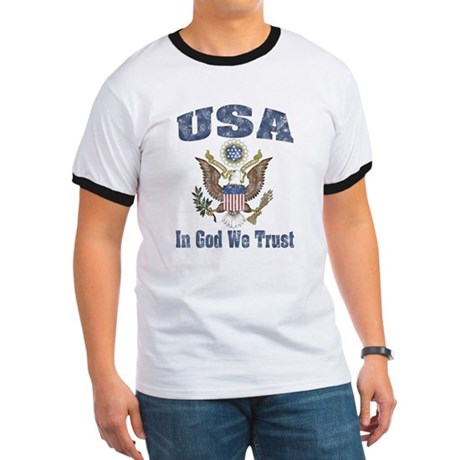 USA - Weathered Look Ringer T