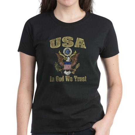USA - Weathered Look Women's Dark T-Shirt