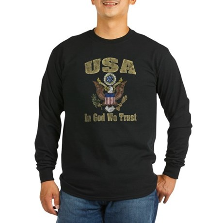 USA - Weathered Look Long Sleeve Dark T-Shirt