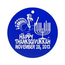 Happy Thanksgivukkah Turkey and Menorah Ornament (