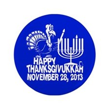 "Happy Thanksgivukkah Turkey and Menorah 3.5"" Butto"