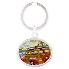Retro Woody Oval Keychain