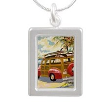 Retro Woody Silver Portrait Necklace