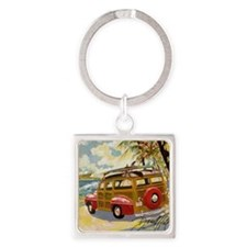 Retro Woody Square Keychain