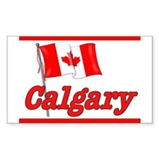 Canada Flag - Calgary Text Rectangle Bumper Stickers