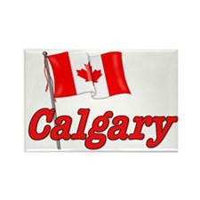 Canada Flag - Calgary Text Rectangle Magnet (10 pa
