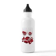 WineGlassRosePedals Water Bottle