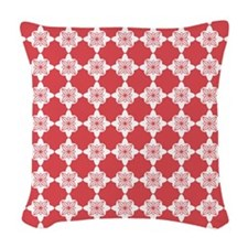 Cayenne Red Quatrefoil Floral Woven Throw Pillow