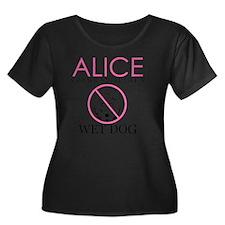 WETDOGW Women's Plus Size Dark Scoop Neck T-Shirt
