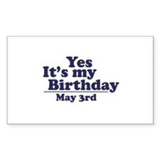 May 3 Birthday Rectangle Decal