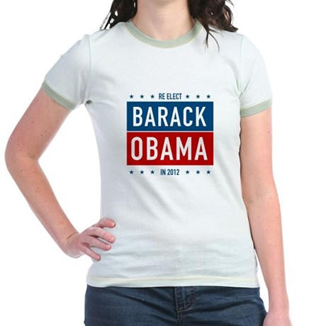 Barack Obama for President Jr Ringer T-Shirt