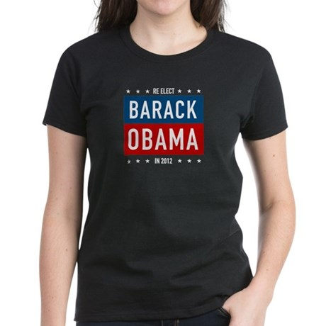 Barack Obama for President Womens Black Tee