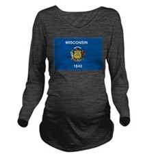 Wisconsin Flag Long Sleeve Maternity T-Shirt
