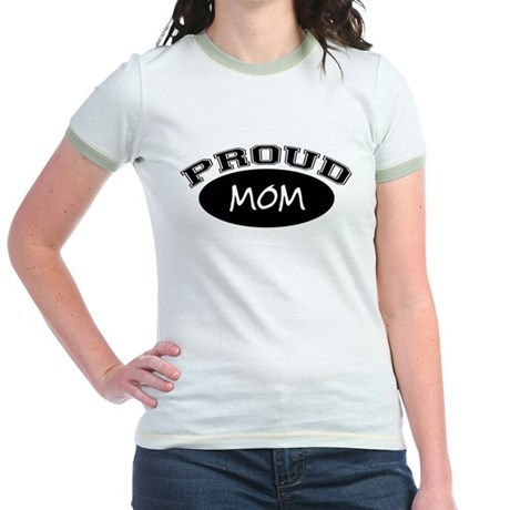 Proud Mom (black) Jr. Ringer T-Shirt
