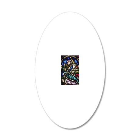 Stained Glass Nativity 20x12 Oval Wall Decal