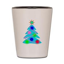 Blue Christmas Tree Shot Glass