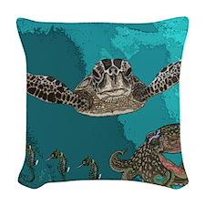 Sea creatures Woven Throw Pillow